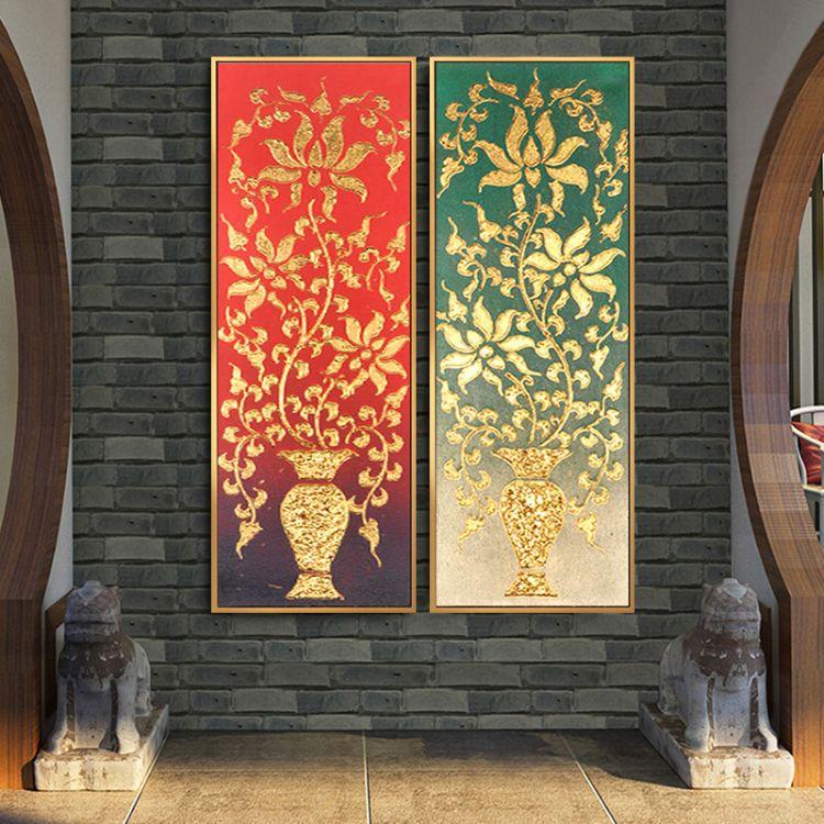 厂家纯手绘东南亚金箔油画 别墅客厅玄关壁画装饰画酒店手绘挂画
