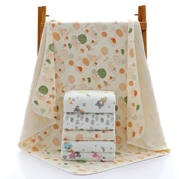 4层纯棉印花纱布新生儿浴巾抱被婴幼儿童被盖空调毯纱布毯夏季薄