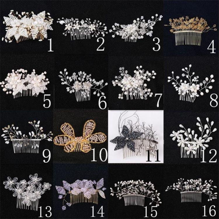 韩版新娘手工珍珠花卉软陶花朵发梳发带 影楼结婚配饰品配饰头带