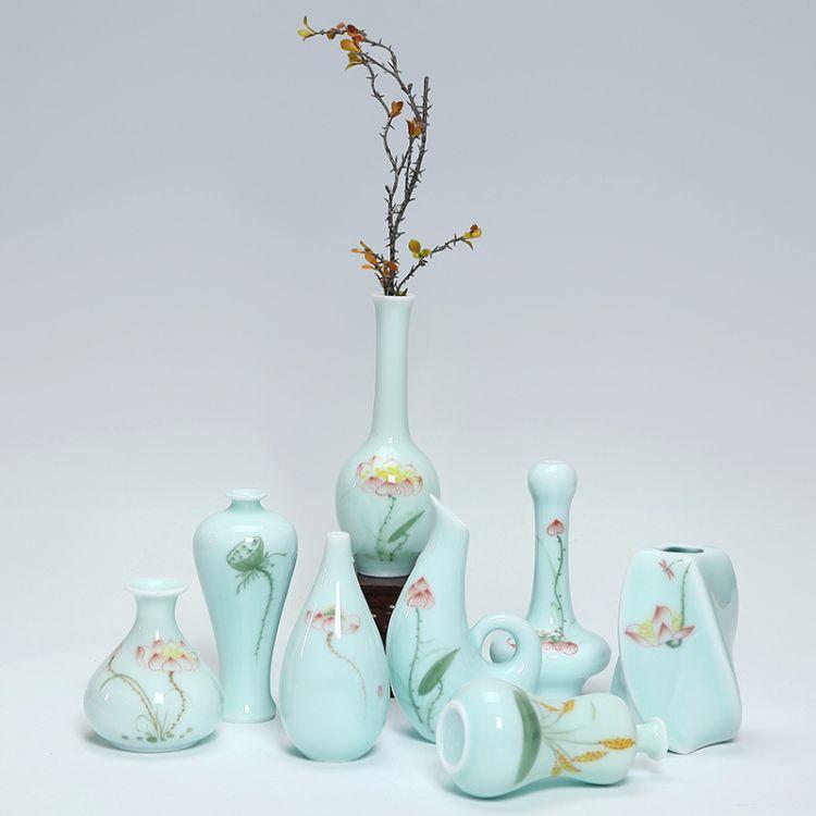陶瓷花插创意艺术中式花瓶办公室家居酒店摆件高档复古花器青瓷