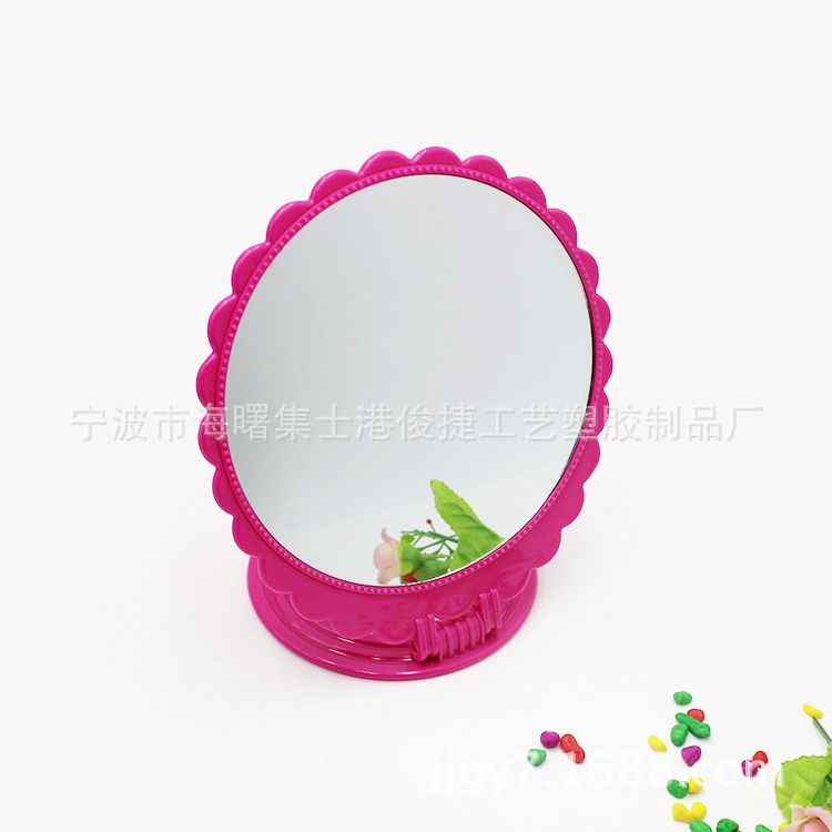 宁波生产各种款式的塑料台式化妆镜 花边塑料圆形台式化妆镜