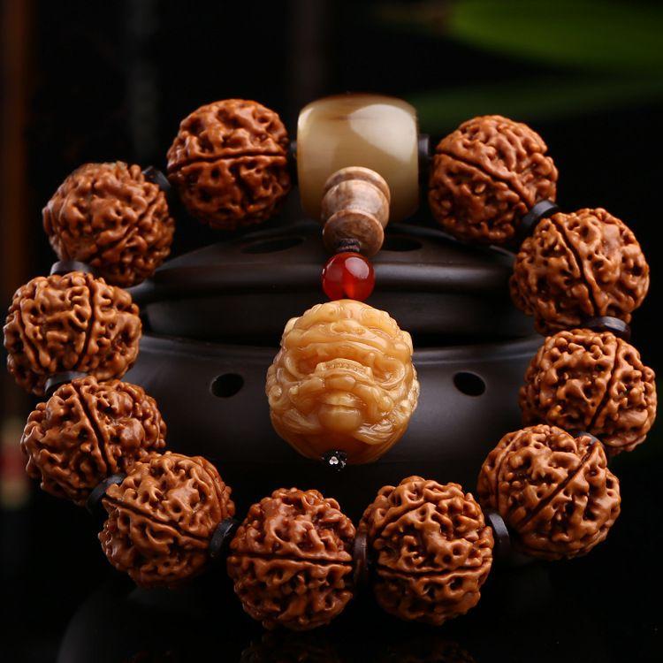 尼泊尔五瓣六瓣 金刚菩提子五星双龙纹2.0手串 厚齿高密文玩手链