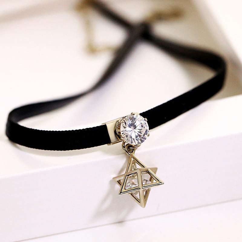 韩版黑色项圈锁骨链女颈链颈带 六芒星脖子饰品简约短款choker