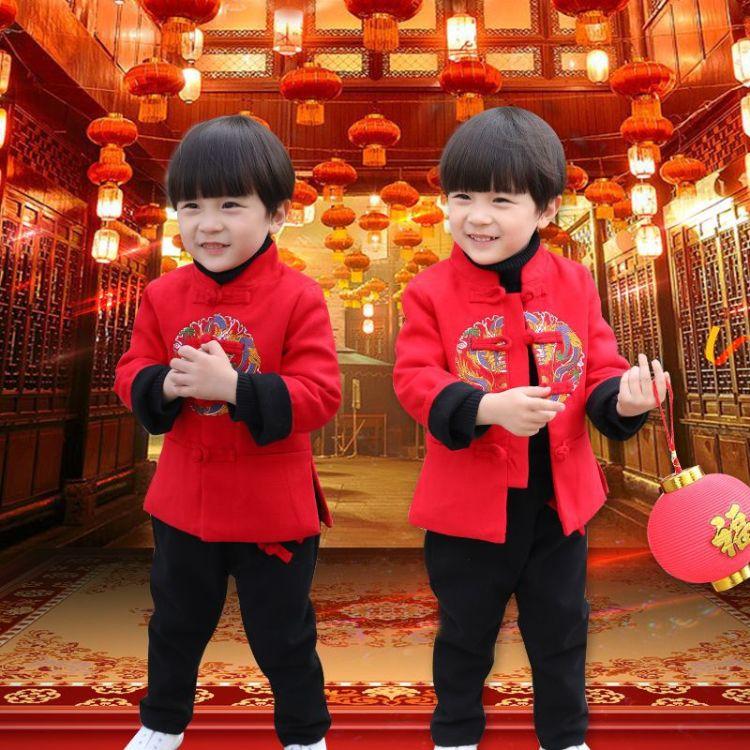 民族风童装秋冬装儿童唐装套装男童汉服加棉加厚女童国学新年服装