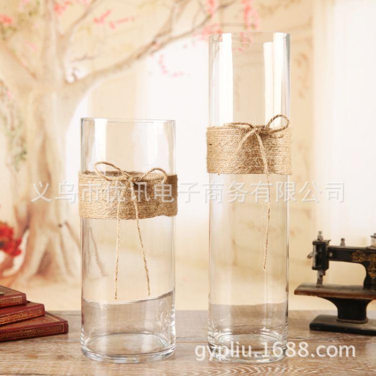 花瓶批发 麻绳玻璃瓶 玻璃花瓶 直筒普通玻璃 婚纱录影装饰品