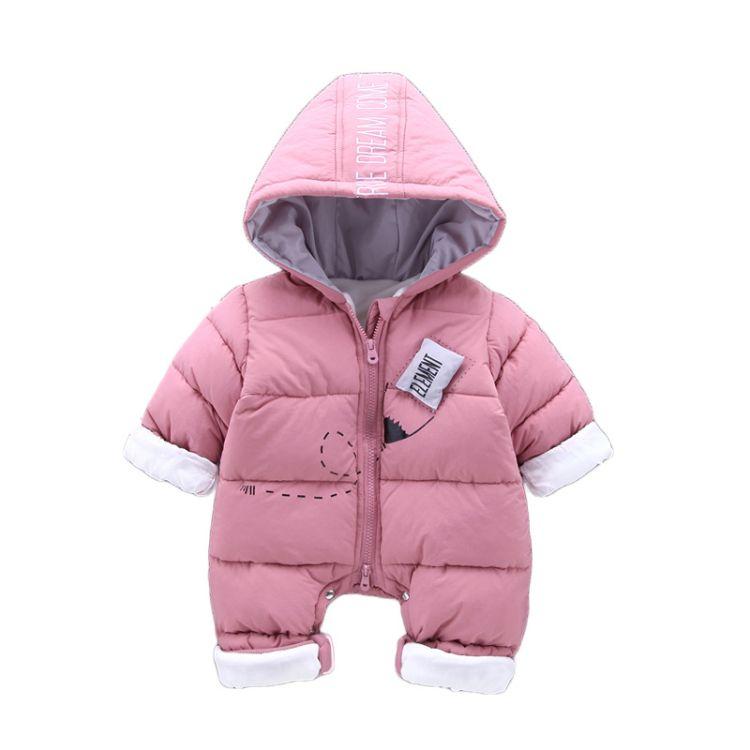 2018冬季新品婴儿连体衣批发保暖婴儿爬服一件代发婴儿棉衣