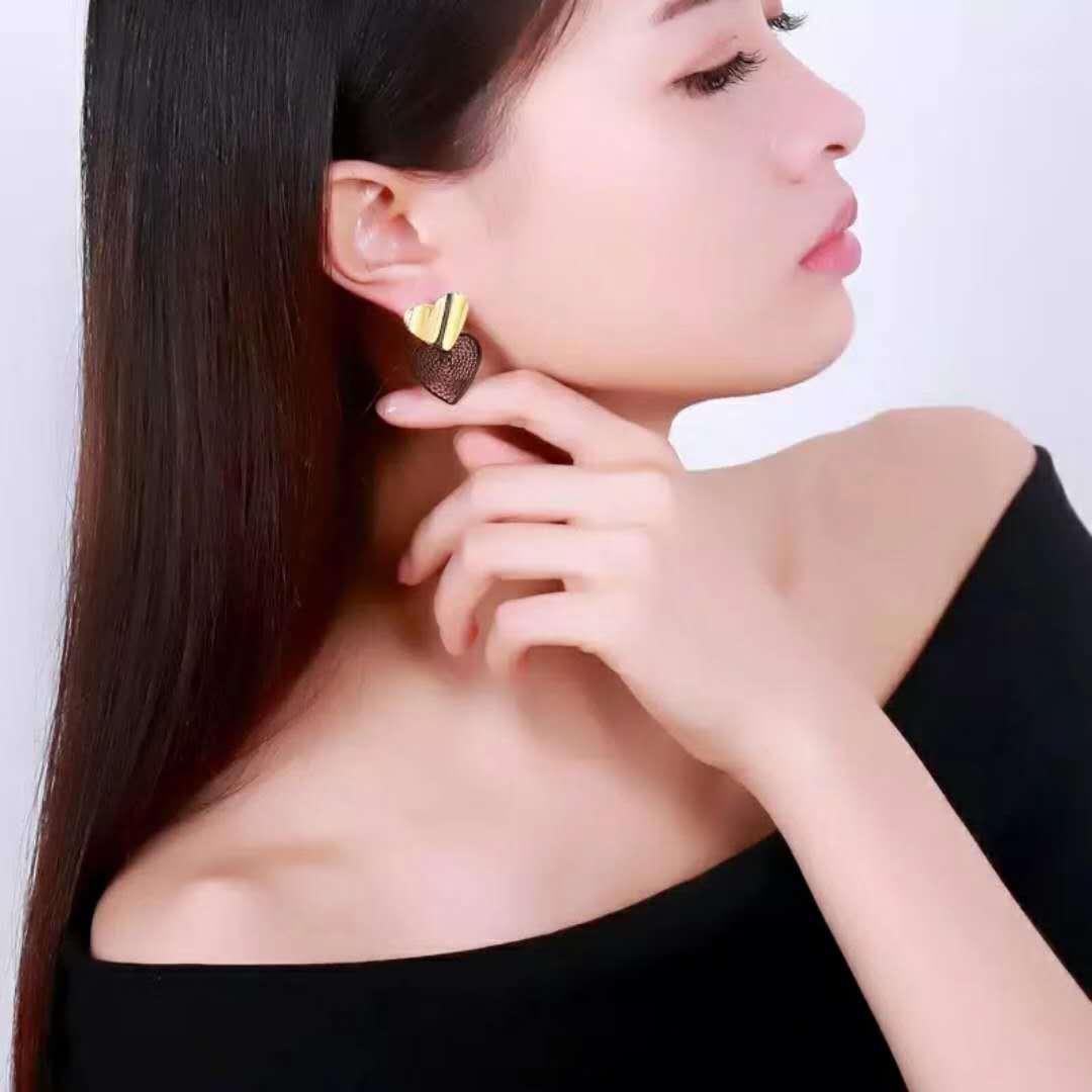 2018新款韓國東大門包布雙桃心心型耳釘耳飾簡約愛心耳環廠家直銷