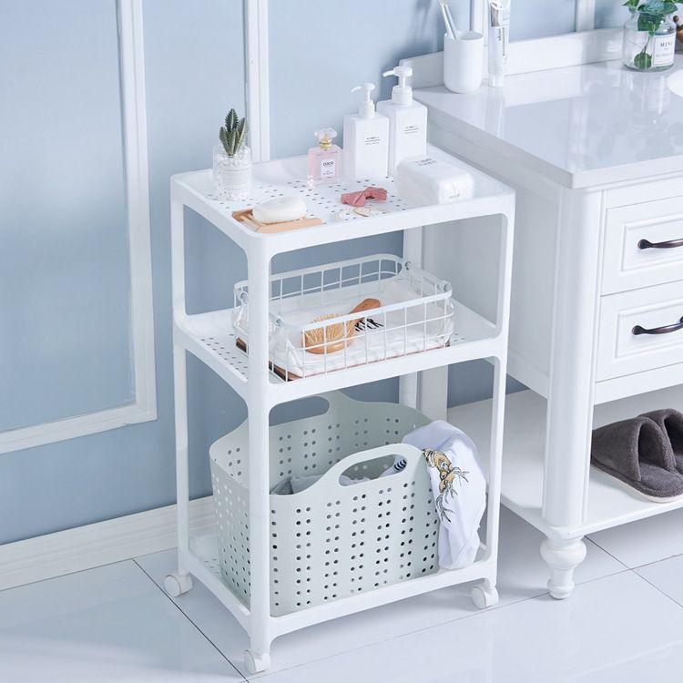 塑料家用浴室置物架卫生间多层储物架厨房置地带轮收纳架方形整理