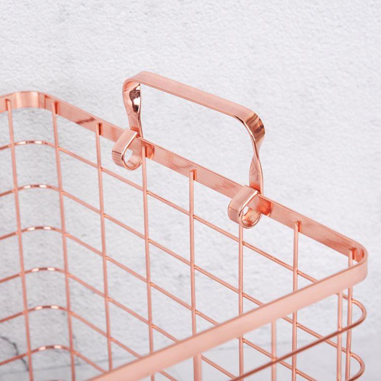 北欧 铁艺收纳筐 金色收纳篮 厨房浴室铁艺收纳篮 家用储物篮