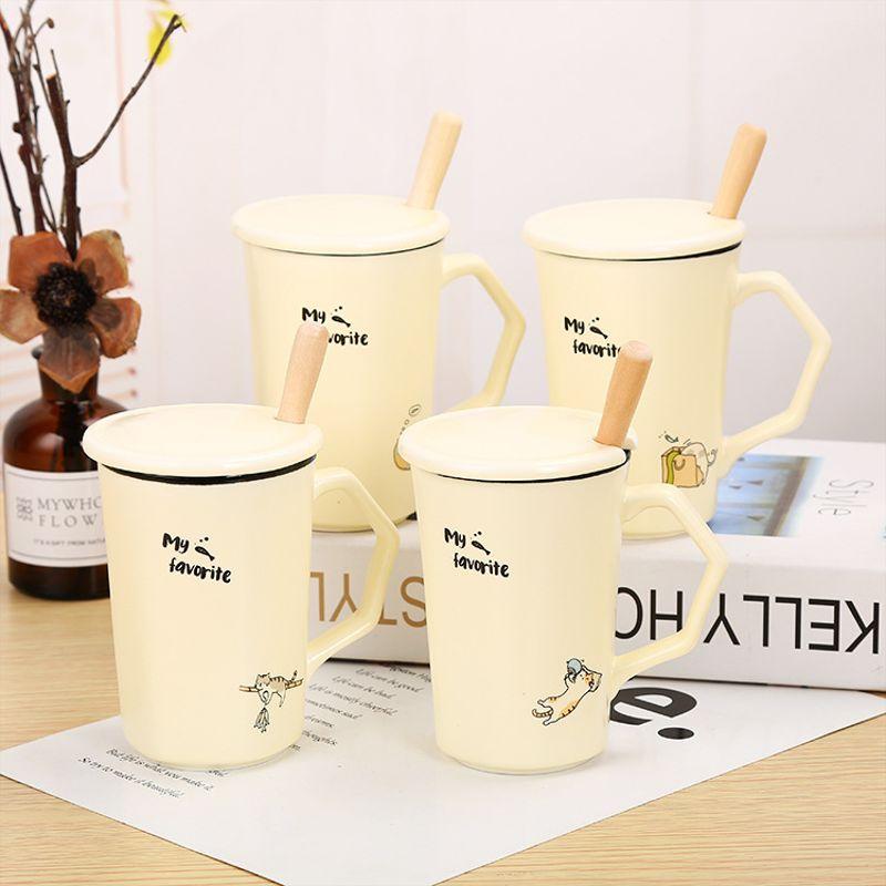 新款懒猫杯子套装创意水杯陶瓷马克杯 个性礼品定制 陶瓷礼品杯