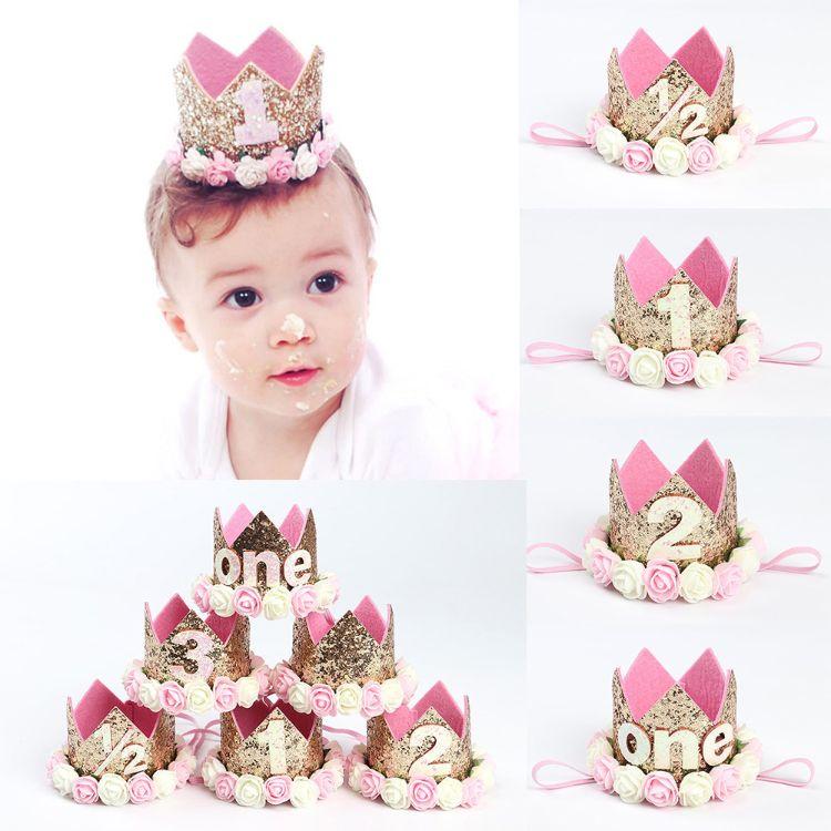 歐美兒童玫瑰花皇冠數字發帶寶寶生日派對表演寫真頭飾嬰幼兒發飾