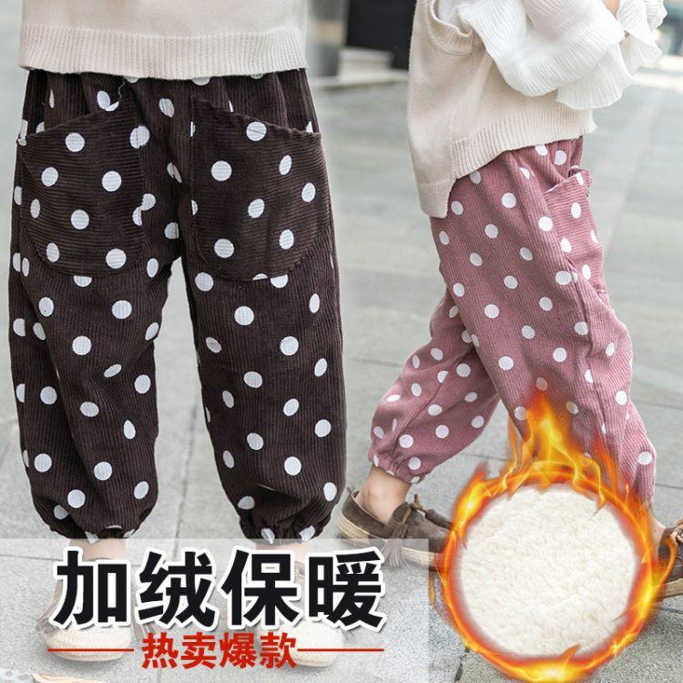 儿童冬季新款韩版裤加绒长裤中小童宝宝灯芯绒可开裆加厚保暖裤子