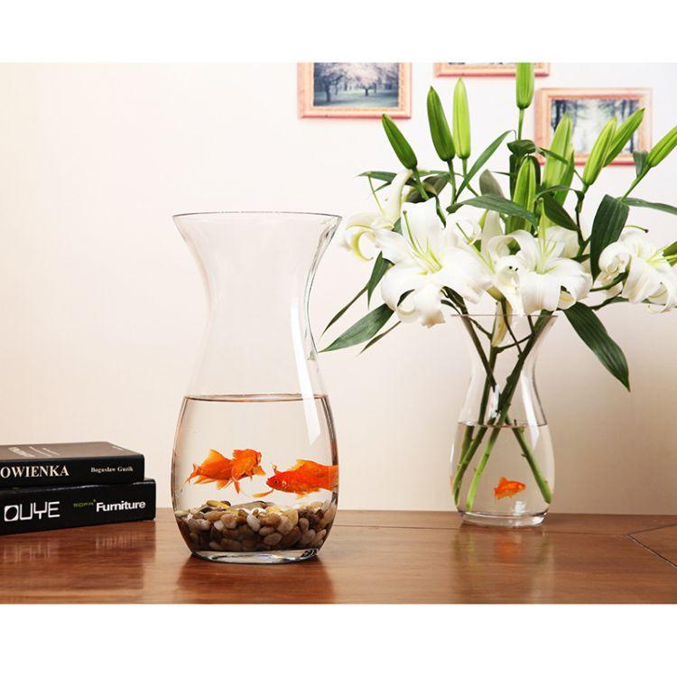 批发透明玻璃花瓶  富贵竹百合花插玻璃花瓶 吹制水培玻璃花瓶