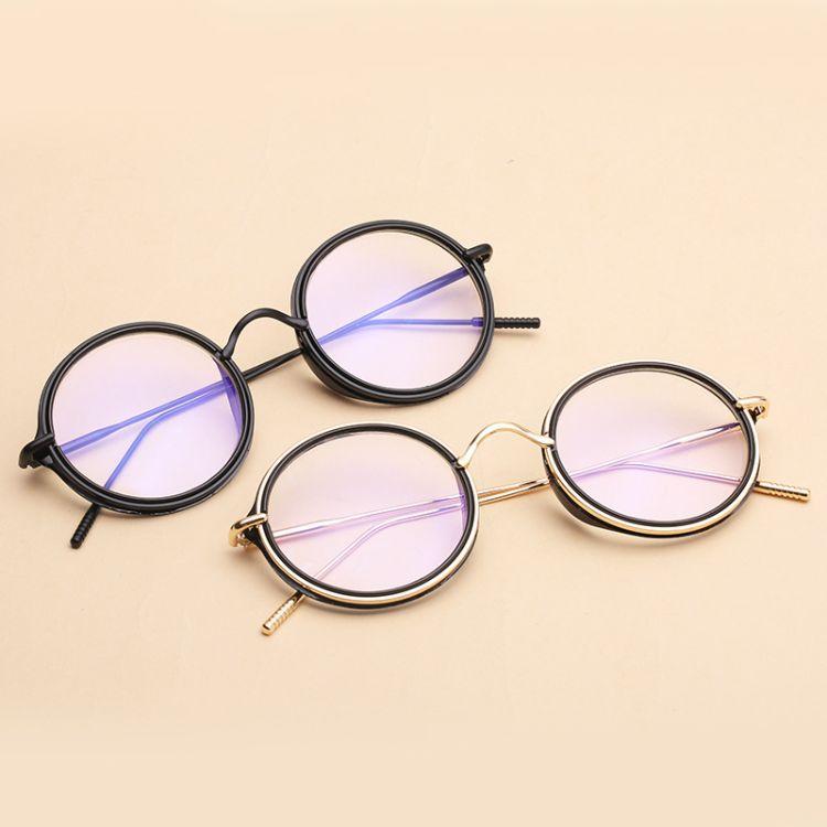 新款原宿圓形大框近視眼鏡框女文藝大圓框平光鏡復古眼鏡架 批發