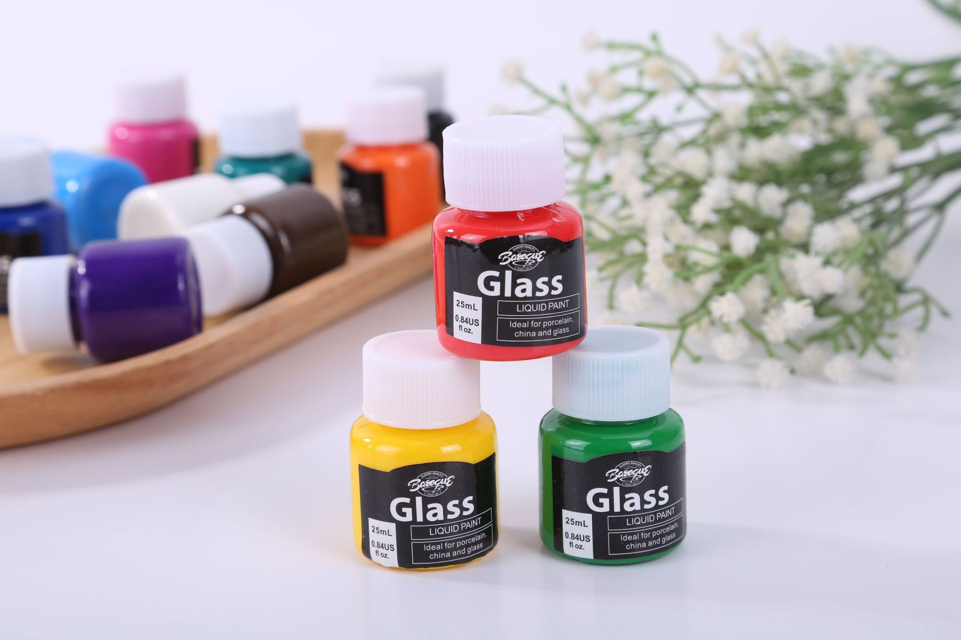 6色25ML玻璃手绘颜料免烤颜料 陶瓷画颜料 纺织布料颜料