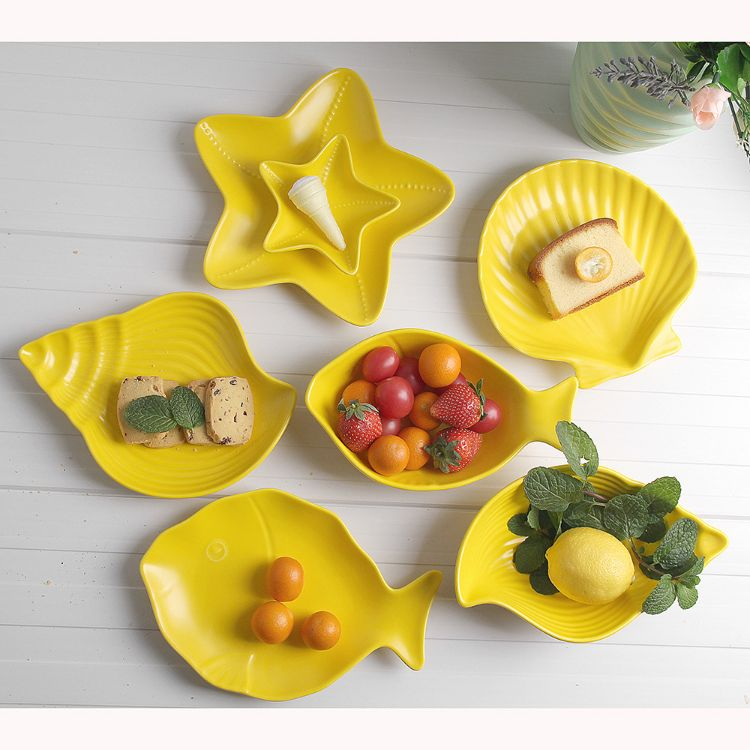 亚光海洋系列儿童陶瓷餐具日式简约碗盘 哑光黄色系列 厂家批发