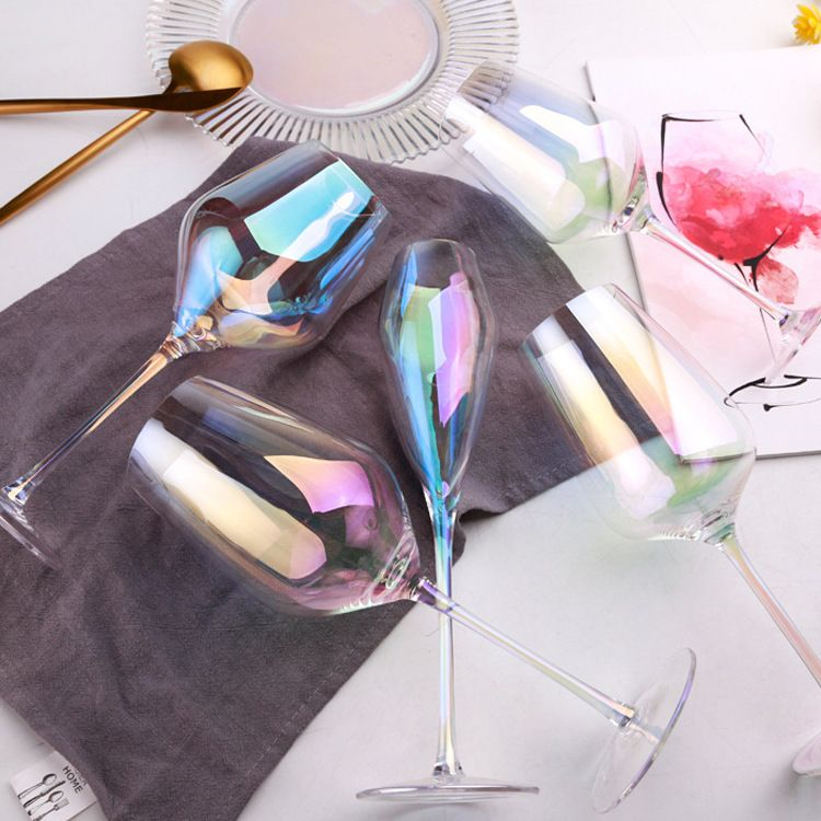 日本梦幻水晶玻璃彩虹高脚红酒杯香槟杯 电镀七彩渐变色定制代发