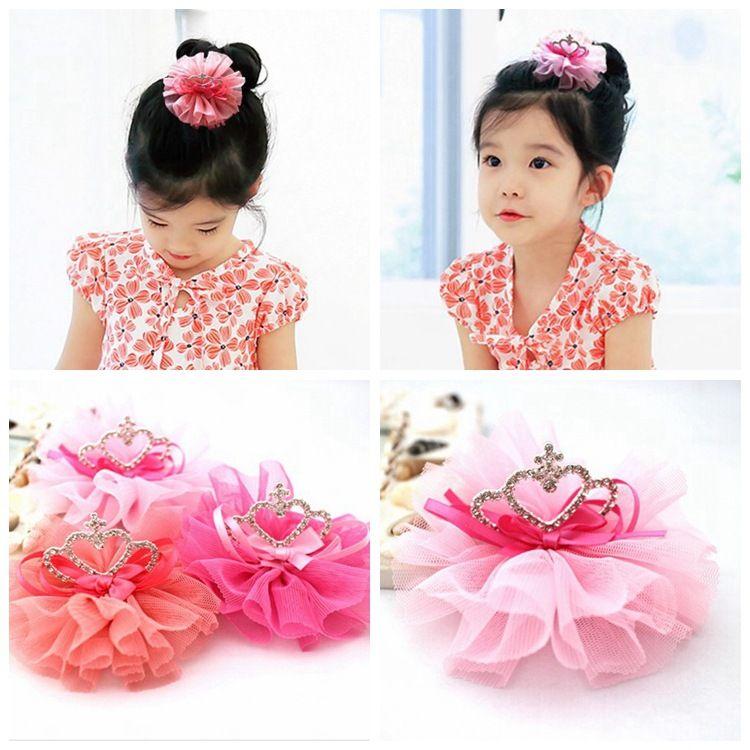 韩版儿童皇冠发饰 六一表演 蕾丝纱皇冠发夹