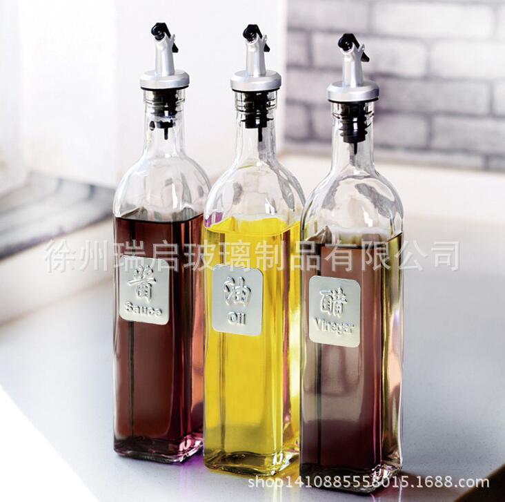 瑞启 油瓶玻璃防漏油壶大号醋壶调味瓶酱油瓶罐小醋瓶厨房用品