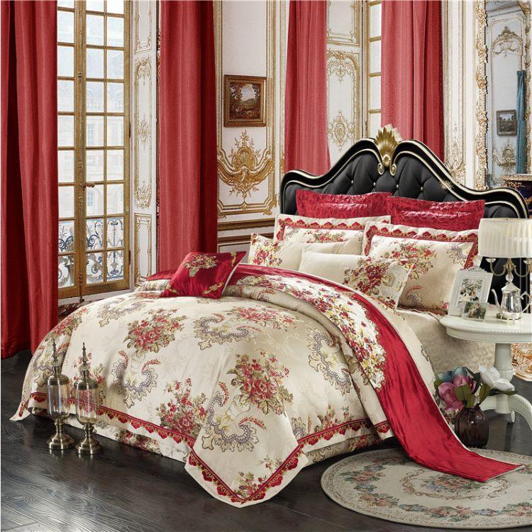 新贵族高档贡缎床上用品1.82m婚庆礼品四件套棉刺绣欧式多件套
