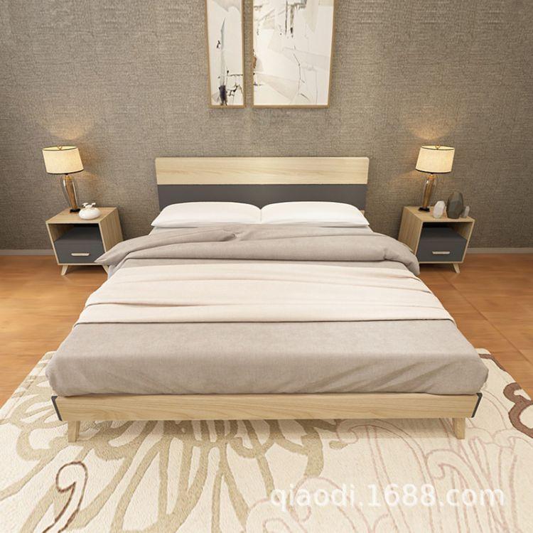 乔帝床板式床卧室床双人大床现代简约床1.8米双人床单人床1.5米床
