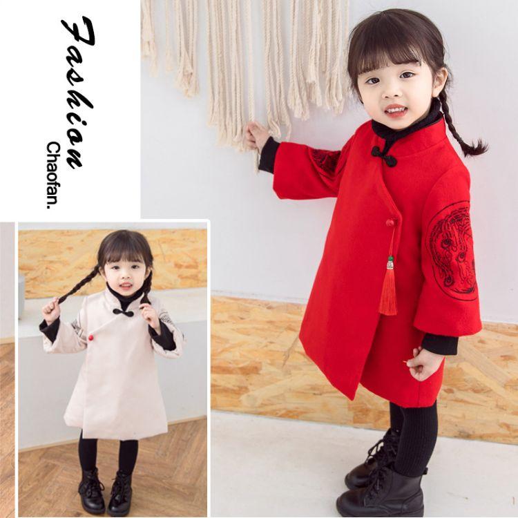 2018新款童装儿童汉服 女童刺绣连衣裙唐装拜年服 中国风拜年衣