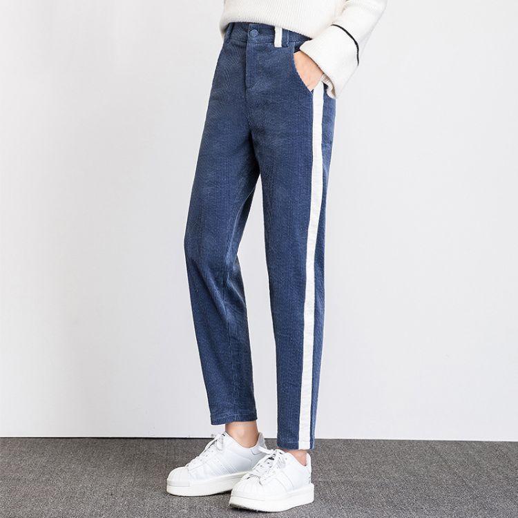 名姊哥弟女裤2018秋新款灯芯绒裤子九分哈伦裤高腰显瘦丝绒萝卜裤
