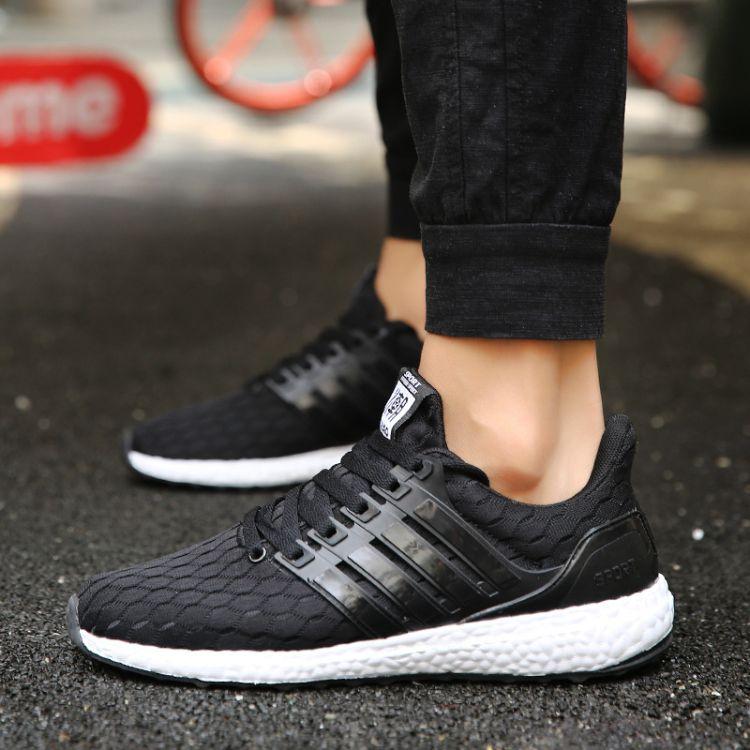 夏季 新款飞织鞋气垫休闲鞋 男女气垫跑步运动鞋 单鞋