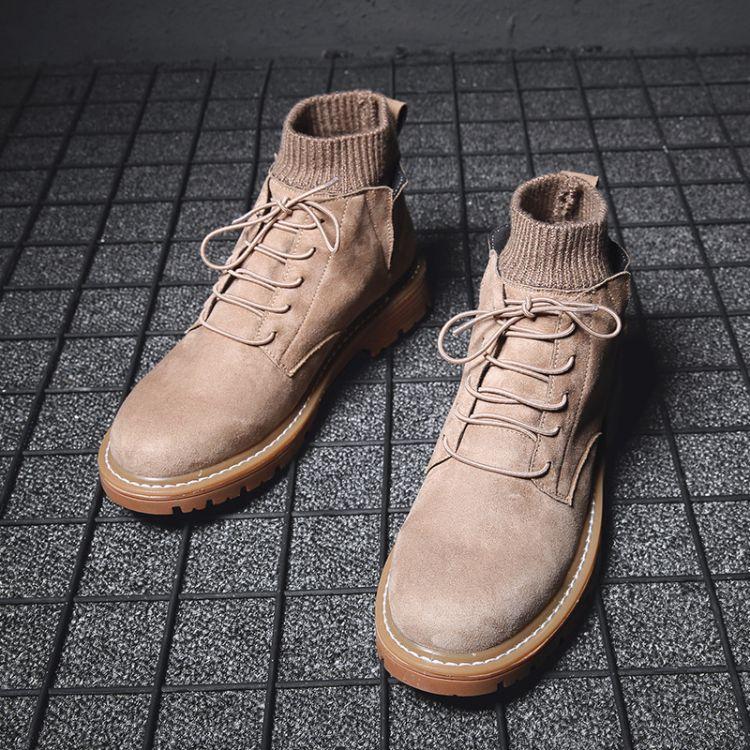 冬季加绒保暖马丁靴男士高帮袜子鞋工装鞋男中帮切西尔靴短靴男鞋