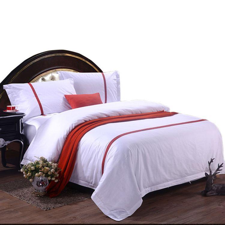 酒店布草纯棉白色60支贡缎提花主题宾馆床上用品四件套批发定制