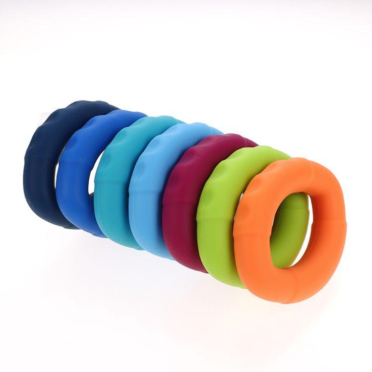 椭圆形硅胶握力圈 手部握力器 五指按摩器 手指锻炼环 体育运动