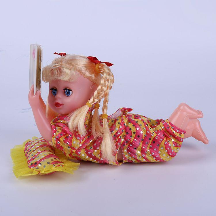 搪胶娃娃儿童玩具 读书睡娃外贸娃娃玩具 马尾女孩娃娃批发
