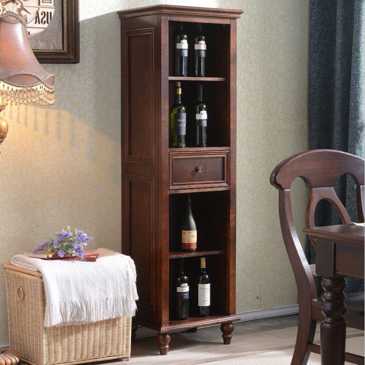 白蜡木美式乡村酒柜 实木酒柜客厅家具 储物柜