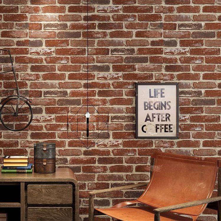 个性定制无缝3D复古怀旧古红砖纹墙大型壁画 餐厅酒吧背景墙