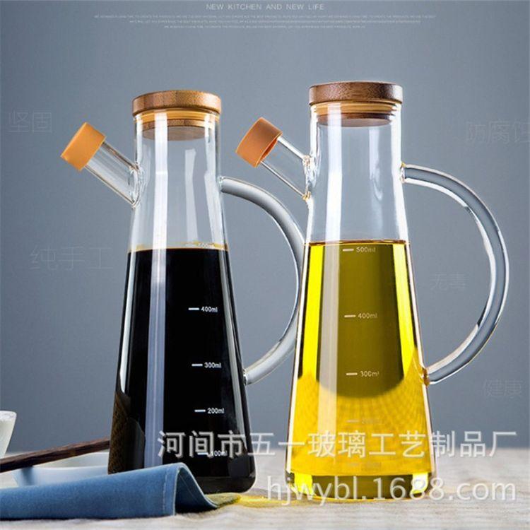 批发高硼硅玻璃香油瓶超大醋瓶厨房用品 玻璃防漏控油壶油壶