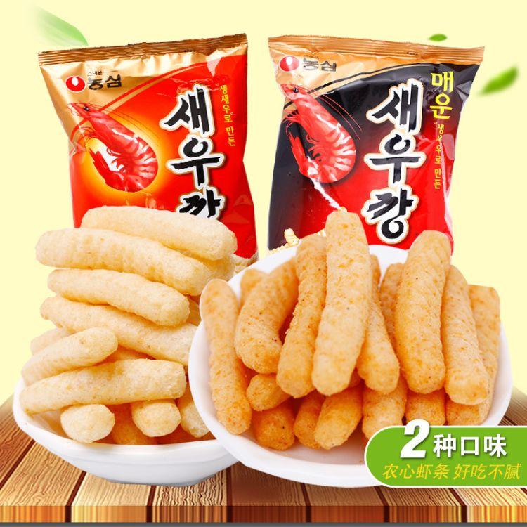 韩国进口零食品 农心虾条 鲜虾条原味料烤制 香脆可口非油炸 90g