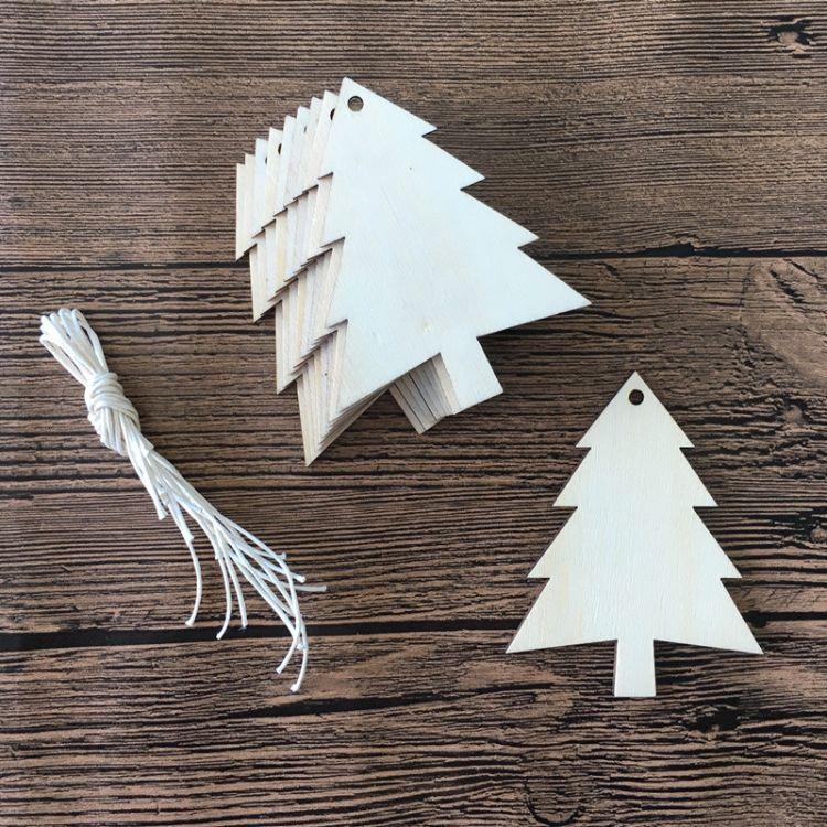 木制工艺品创意圣诞树挂件激光雕刻3木头板节日派对装饰吊牌卡串