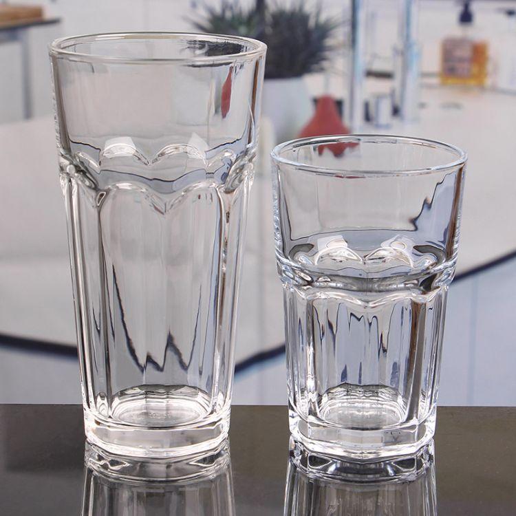 厂家直销通透玻璃水杯 无铅玻璃八角水杯茶杯威士忌杯啤酒杯