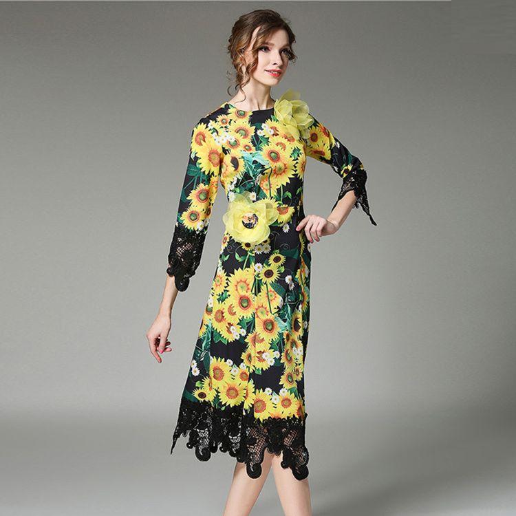2018春季新款欧美女装礼服长裙立体向阳花蕾丝拼接印花双绉连衣裙