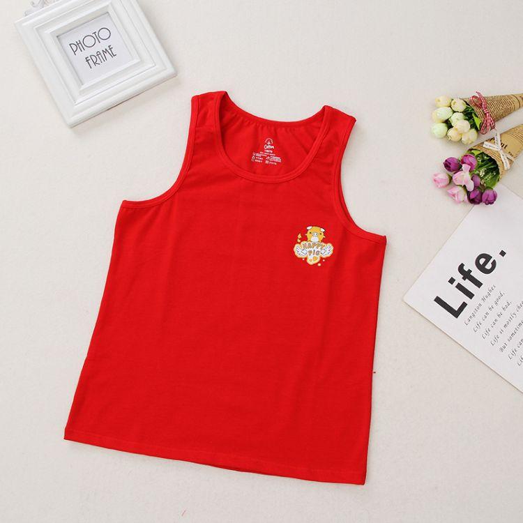 新款本命年儿童内衣打底背心大红色内衣中大童长背心纯棉内衣猪年