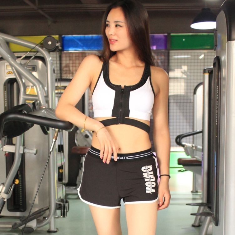 拉链文胸聚拢双色健身运动文胸速干运动内衣防震跑步运动健身套装