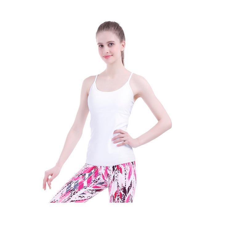 瑜伽服上衣2018新款女紧身瑜伽背心带胸垫跑步运动健身吊带