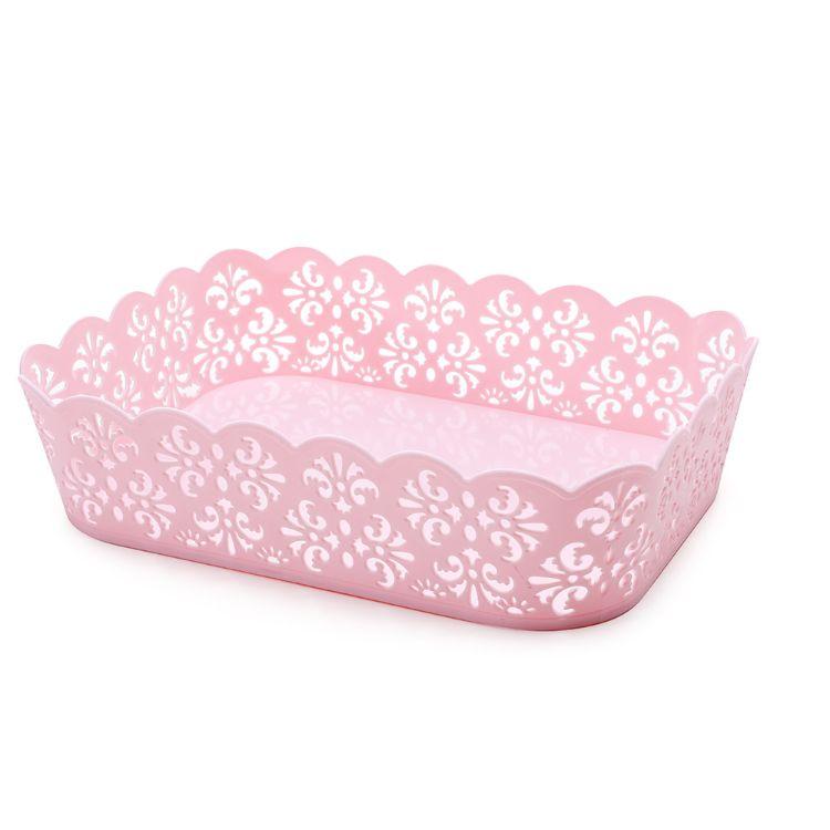 新款全新料镂空蕾丝边收纳筐长方形收纳筐厨房收纳筐水果篮置物篮