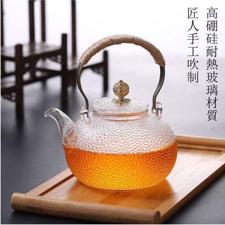 厂家批发玻璃茶具耐热玻璃提梁壶 锤纹提梁壶可加热泡茶壶