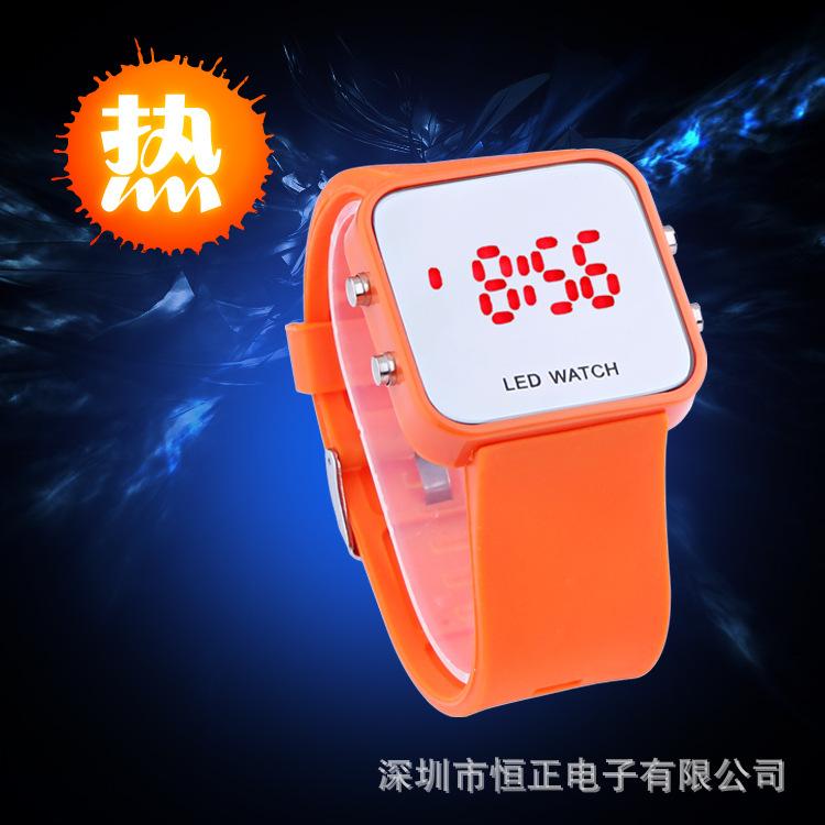 优质镜子果冻手表 韩版创意LED学生手表 情侣LED硅胶手表 批发