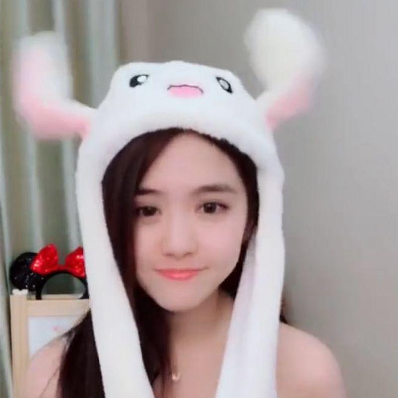 抖音同款兔耳朵帽子网红同款二次元可爱气囊一捏耳朵会动的兔子帽