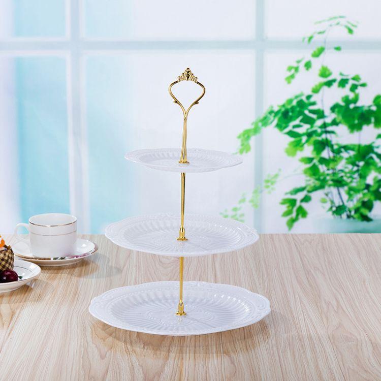 包邮新欧式时尚蛋糕架 环保优质PP生日宴会三层蛋糕架结婚蛋糕盘