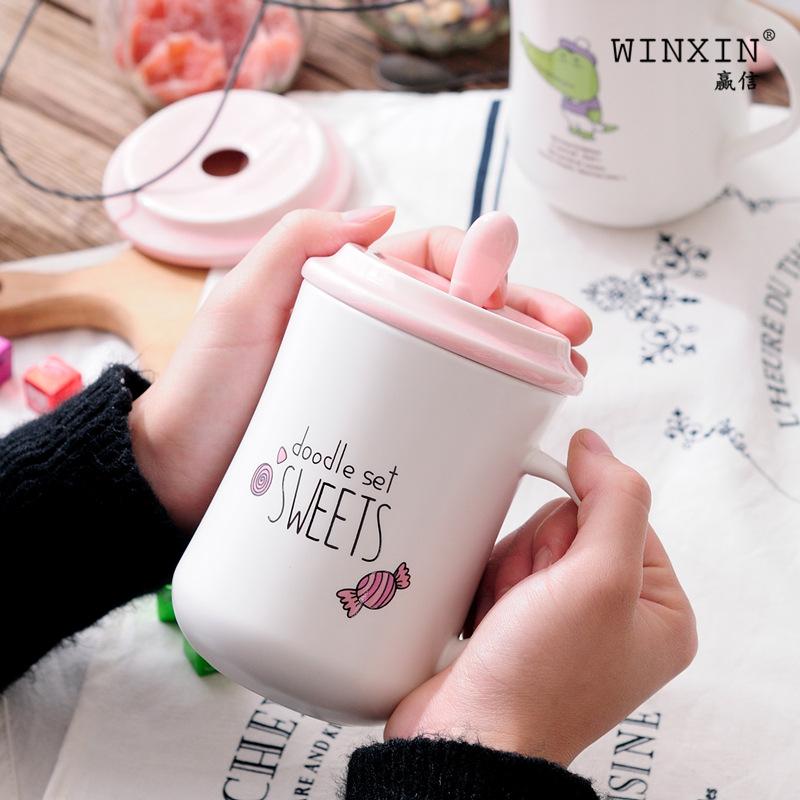 陶瓷杯卡通学生水杯创意陶瓷马克杯牛奶咖啡杯节日礼品批发