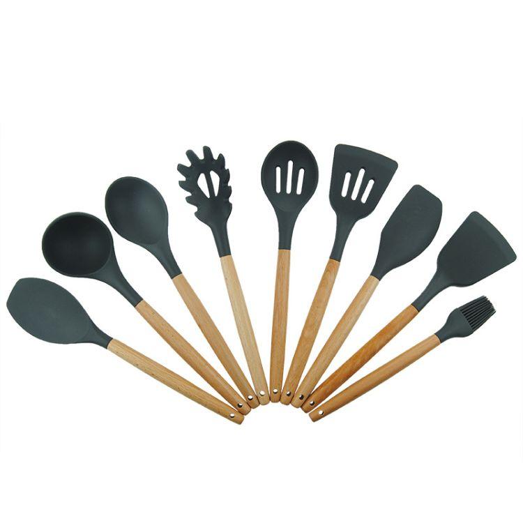 亚马逊热卖木柄硅胶厨具9件套 九件套厨房工具铲勺套装厂家批发