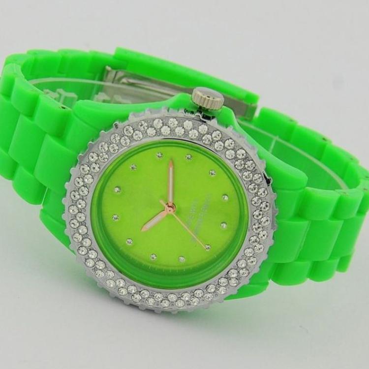 工厂ABS塑料新款韩版镶钻硅胶手表 礼品手表 合金手表批发 双排钻